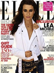 Lea Michele ELLE Cover wearing the Vintage 1993 CHANEL Icon Charm Belt
