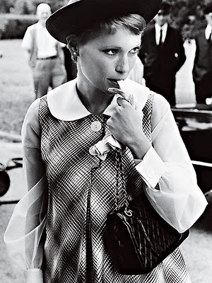 Mia Farrow with a Vintage Chanel 2.55 Flap Bag