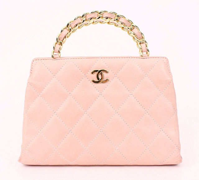 Chanel pink top-handled bag from the Rice and Beans website.