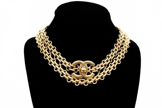 Vintage Chanel turnlock necklace/belt from Rice and Beans Vintage.