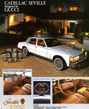 1978 Gucci Seville advertisement.  Image courtesy of International Automotive Design, Inc.