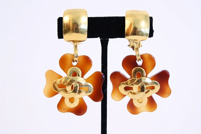 Chanel tortoise shell earrings from Rice and Beans Vintage.