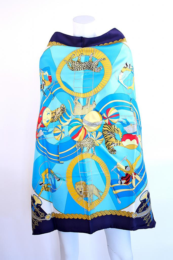 "Hermès ""Circus"" silk scarf from Rice and Beans Vintage."