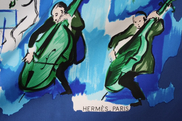 "Hermès ""Concerto"" music-themed silk scarf from Rice and Beans Vintage."