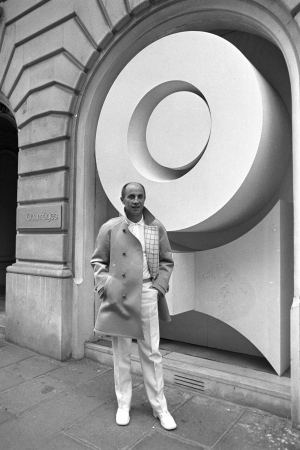André Courrèges outside of his Paris retail store, 1969.  Image courtesy of Paris Internationale Presse.
