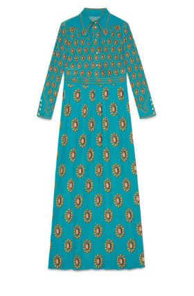Gucci brooch-printed silk dress.  Image courtesy of Gucci.com.