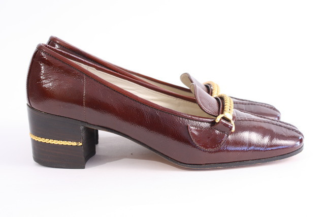1970s Gucci heeled loafers for sale at riceandbeansvintage.com.