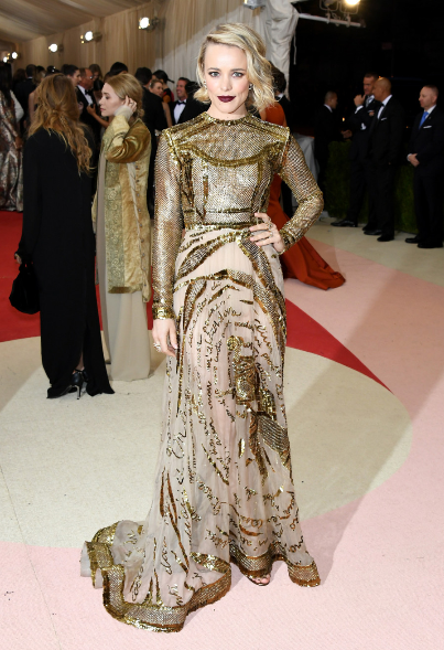 Rachel McAdams at the 2016 Met Gala wearing Valentino.  Image courtesy of huffingtonpost.com.