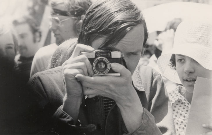 Bill Cunningham in 1967 with his first camera.