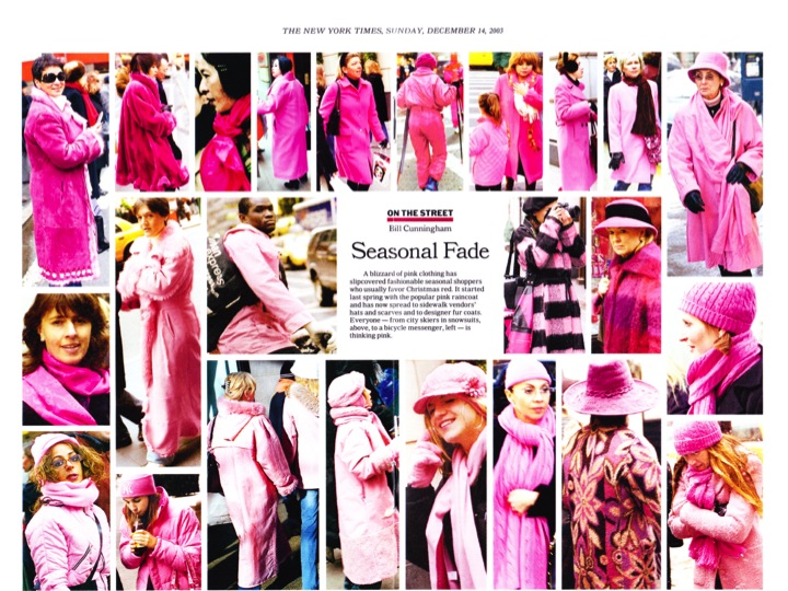 "Pretty in pink, ""On the Street"" edition.  Image courtesy of nytimes.com."